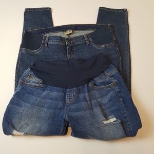 2 Indigo Blue maternity jeans & shorts size medium